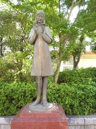 This statue of Sadako Sasaki stands in Naku-Ku, Hiroshima, Japan