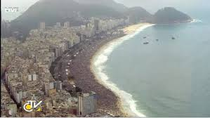 aerial view of Copacabana beach during WYD closing Papal Mass