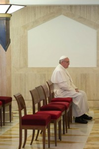 Pope Francis alone