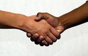 black white hand shake