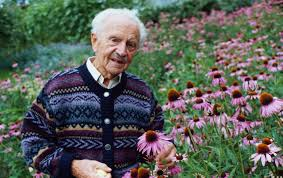 Alfred Vogel with purple coneflowers, source of Echinacea