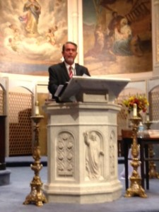 Dr. Hahn speaking at Miracullous Medal Shrine on evening of 9/24/15