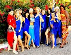 "Tracy Elise (center in long blue gown) and her ""goddesses"""