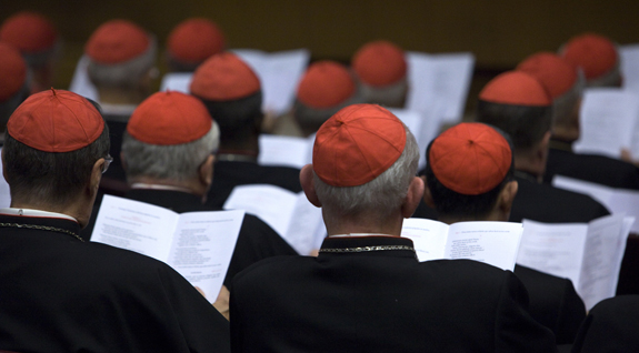 In this Oct. 20, 2014, file photo, cardinals gather in the Synod Hall at the Vatican. Church experts say synods should get more input from lay faithful. (CNS photo/Maria Grazia Picciarella, Pool) See SYNOD-BISHOPS-LAY Feb. 18, 2016.