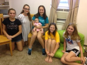 The Pioneers with the youngest member of the group - six week-old Alaina Therese