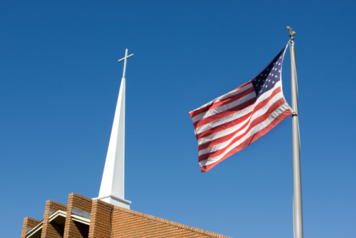 church steeple flag