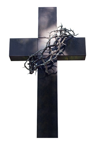 13975460 - cross and thorns isolated