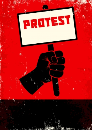 18935336 - red and black poster with fist and placard