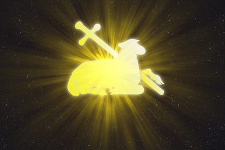 7205775 - illuminated lamb and cross in the sky