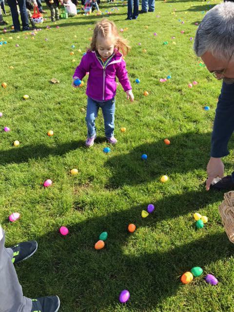 Abigail Rose Beutler, 3, enjoys an Easter Egg hunt (Facebook)