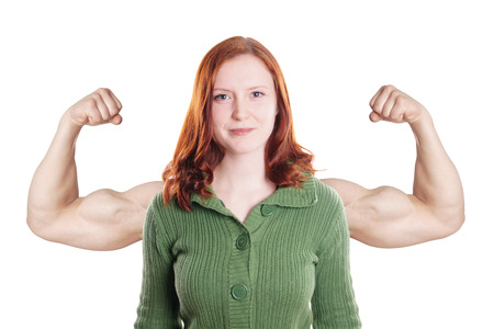 46238973 - confident young woman with superimposed muscular arms power concept