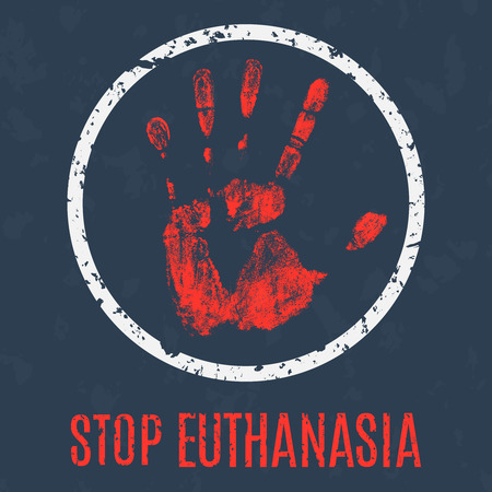 50851390 - euthanasia stop sign vector illustration